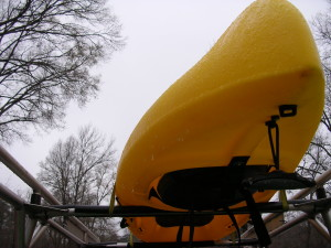 Icicles clinging to Dad's kayak